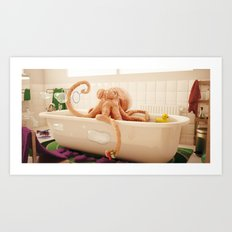 Octopus Bath Art Print