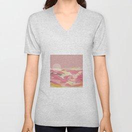 Pink Multi Layer Pattern Design Unisex V-Neck