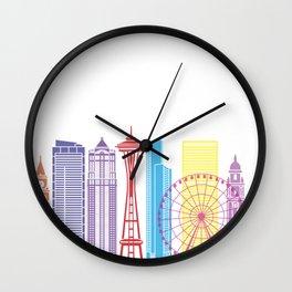 Seattle V2 skyline pop Wall Clock