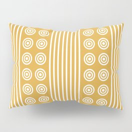 Geometric Golden Yellow & White Vertical Stripes & Circles Pillow Sham