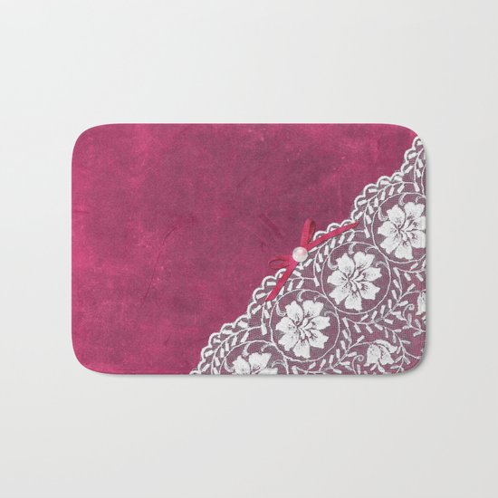 Claire´s treasure - White beautiful lace and pearl on pink grunge backround Bath Mat