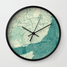 Lisbon Map Blue Vintage Wall Clock
