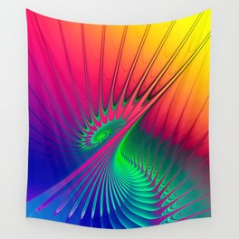 Outburst Spiral Fractal neon colored Wall Tapestry