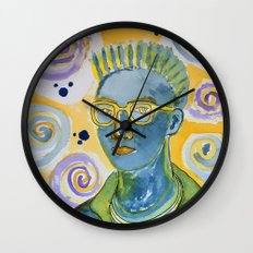 blue man with yellow rimmed glasses Wall Clock