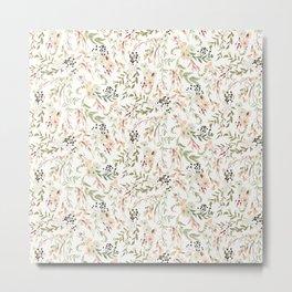 Dainty Intricate Pastel Floral Pattern Metal Print
