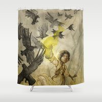 jojo Shower Curtains featuring Field of Crows by JoJo Seames