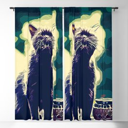 british shorthair cat ready to attack vector art foggy night Blackout Curtain