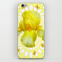 YELLOW BUTTERFLIES & YELLOW IRIS WHITE PATTERN ART iPhone Skin