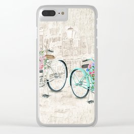 Vintage Bicycles With a City Background Clear iPhone Case