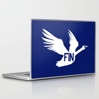 finland Laptop & iPad Skins featuring National Bird of Finland by Infinite Sparrow