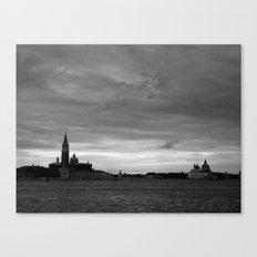 Venice laguna at sundown in black and white Canvas Print