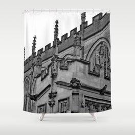 B&W Church Facade Shower Curtain
