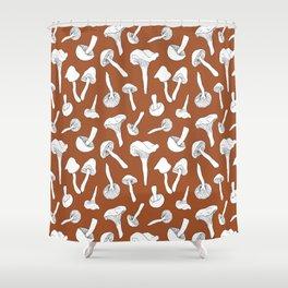 Wild Mushroom Toss in Rust Shower Curtain