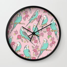 Budgie Birds With Blossom Flowers on Pink Wall Clock