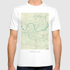 Nashville Map Blue Vintage White Mens Fitted Tee MEDIUM