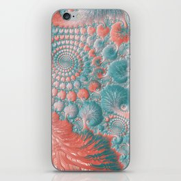 Abstract Living Coral Reef Nautilus Pastel Teal Blue Orange Spiral Swirl Pattern Fractal Fine Art iPhone Skin