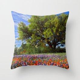 Bluebonnet Texas Throw Pillow