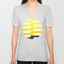 Minimalist Mid Century Circle Frame Yellow Zig Zag Colorful Lightning Bolt Geometric Pattern Unisex V-Neck