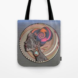 African woman profile on a woven basket Tote Bag