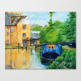 A narrow boat stops after passing through Coxes Lock near Addlestone in Surrey.  Canvas Print
