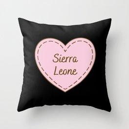 I Love Sierra Leone Simple Heart Design Throw Pillow