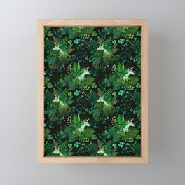 Irish Unicorn in a Garden of Green Framed Mini Art Print
