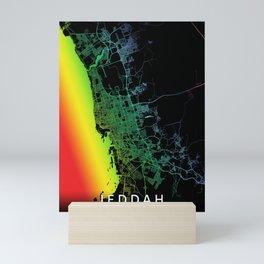 Jeddah, Saudi Arabia, City, Map, Rainbow, Map, Art, Print Mini Art Print