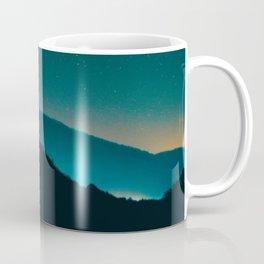 Beautiful Vintage Night Star Sky Turquoise Sky With Mountain Silhouette Coffee Mug
