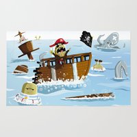 pirates Area & Throw Rugs featuring Pirates by modernagestudio