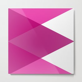 Pink Purple and White Abstract Triangles Metal Print