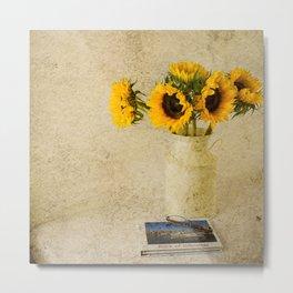 Vintage Sunflowers Metal Print