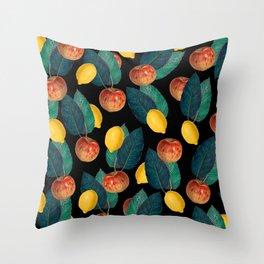 Apples And Lemons Black Throw Pillow