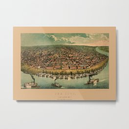Map Of St. Louis 1859 Metal Print