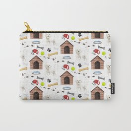 Bichon Frise Dog Half Drop Repeat Pattern Carry-All Pouch