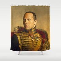 allyson johnson Shower Curtains featuring Dwayne (The Rock) Johnson - replaceface by replaceface