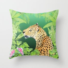 Leopard in Jungle, Greens Background Throw Pillow