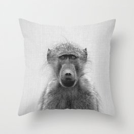 Baboon - Black & White Throw Pillow