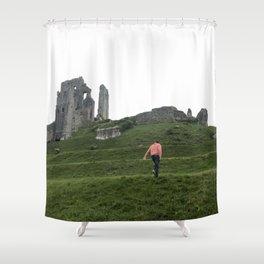 Corfe Castle Wanderlust medieval Shower Curtain