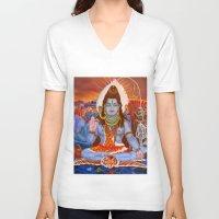 shiva V-neck T-shirts featuring Shiva by Antonimo-discipulosinmaestro