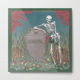 Skeleton Leaning on Grave Metal Print