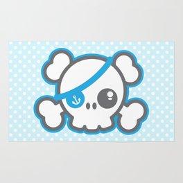 Kawaii Blue Pirate Caption Skull Rug