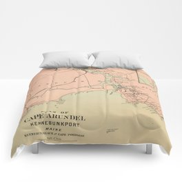 Vintage Kennebunkport & Cape Arundel ME Map (1894) Comforters
