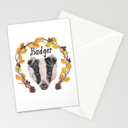 Watercolour Woodland Badger Face Stationery Cards