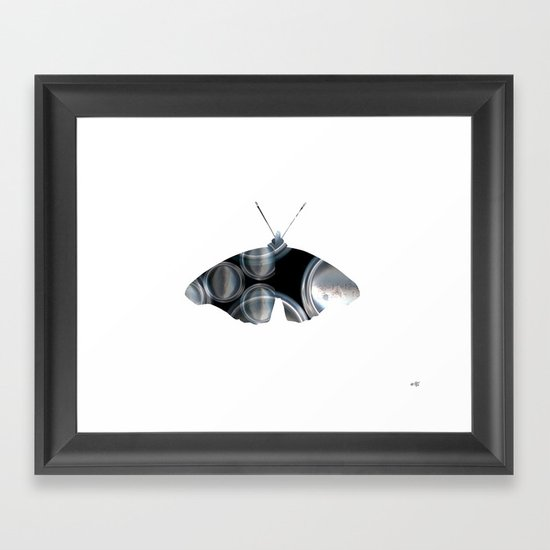 Metal Can Butterfly Collage Framed Art Print