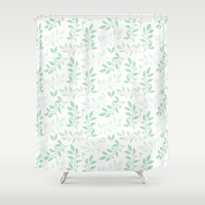 Leaves pattern in Pale Green Shower Curtain by lena127   Society6