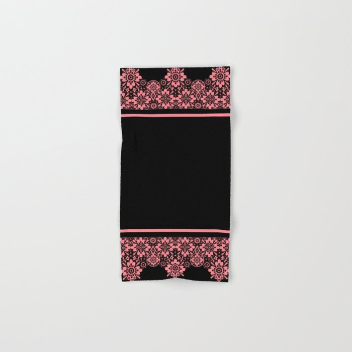 Retro .Vintage . Pink lace on a black background . Hand & Bath Towel