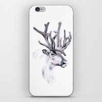 reindeer iPhone & iPod Skins featuring Reindeer by Libby Watkins Illustration