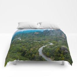 Meteora Monastery Landscape Comforters