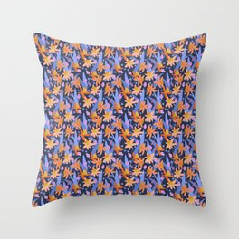 Daffodil Days in Navy Throw Pillow