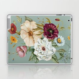 Colorful Wildflower Bouquet on Blue Laptop & iPad Skin